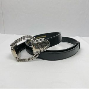 Chico's Black Leather Silver Clasp Adjustable Belt